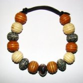 Bracelet Size Large/Adult Male 4.5 in to 5 in Made with Leather Cord, 10 Wood Beads and 5 Plastic Beads Price $5.00