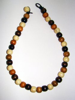 Necklace Size Medium/Adult 9 in Made with Leather Cord and 40 Wood Beads Price: $10.00