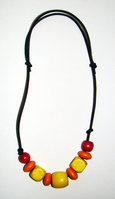 Necklace Size Small/Child 6.5 in to 9 in Made with Leather Cord and 9 Wood Beads Price: $6.00